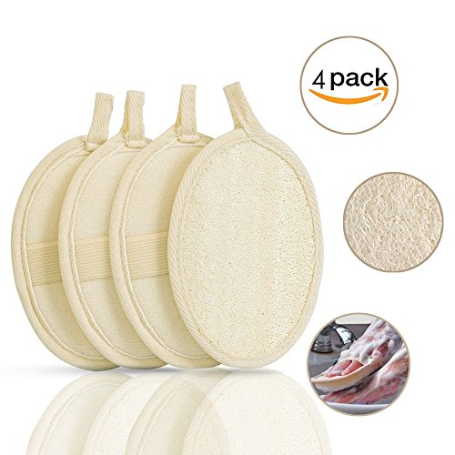 Exfoliating Loofah Sponge Pads- Large 4x6inch - 100% Natural Loofah And Terry Cloth Materials, Non-Toxic, Skin Cleansing for Men and Women (4 - Sponge Terry