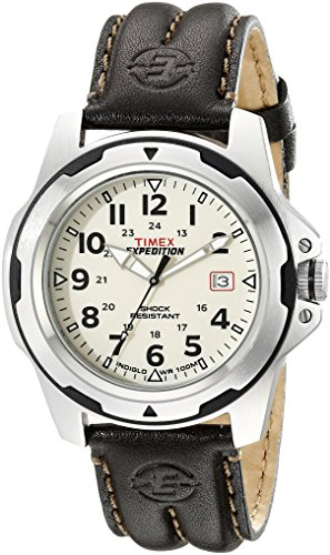 Timex Men's T49261 Expedition Rugged Field Shock Analog Brown Leather Strap Watch ()