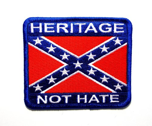 Heritage Not Hate Confederate Rebel Biker Embroidered Patch Iron Sew BSPM0681