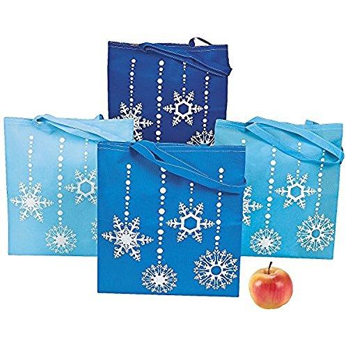 4 ~ Snowflake Tote Bags / Christmas Gift Bags ~ Large 15 1/4