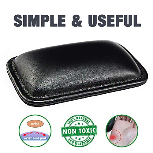 Mouse Wrist Rest Pad Mousepad with Wrist Support for Mac,Computer,Laptop,Office,Computer,Anti Slide PU Base Built in Memory Foam Durable Lightweight Leather Wristpad for Wrist Pain Relief Black