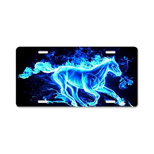 Funny License Plate Frame Flamed Horse Decorative Front License Plate,Metal License Plate Covers for Women,Vanity Tag,Novelty Gifts, for Dad,Gifts for Mom (Flamed Cover)