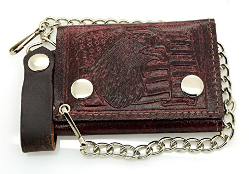 - ACCmall Biker Chain Wallet Genuine Leather Brown/Red Eagle & Flag Tri Fold