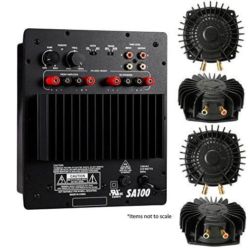 Home-Theater-Bass-Shaker-System-for-four-seats-Four-Aura-Pro-shakers-and-subwoofer-amplifier