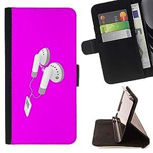 Sony Xperia Z3 D6603 - Dibujo PU billetera de cuero Funda Case Caso de la piel de la bolsa protectora Para (Pink Earphones)