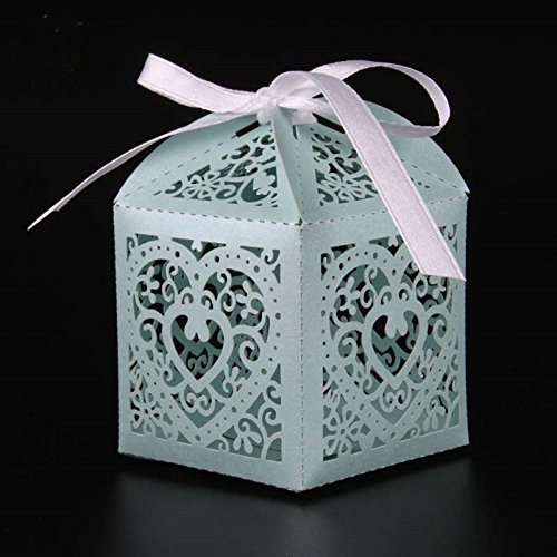 50 Pcs - Love Heart Candy Box wedding box Wedding Party Favor box gift box baby shower wedding decoration party supplies (Tiffany (Tiffany Blue Party Decorations)