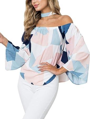 Tomwell Mujer Camiseta Patrón Geométrico Manga Larga Hombros Descubiertos Blusa Elegante Casual Shirt Tops: Amazon.es: Ropa y accesorios