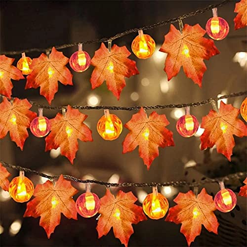 9.8 Ft & 20 LED Thanksgiving Decorations Lighted Fall Garland, Thanksgiving Lights Fall Maple Leaves String Lights Thanksgiving Decorations, Fall Home Decor Halloween Home Decor