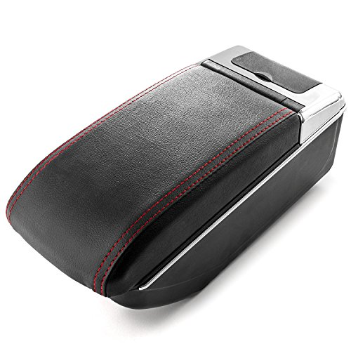 Car Armrest Center Console Box Storage Black Handrest For Nissan Juke 2010-2017 - Black Leather Red Stitching - Double Storage Space, Adjustable Cup Holder, Rear Ashtray/Change Holder