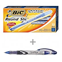 VALUE COMBO: 12x BIC Round Stic Ballpoint Pens 1.0mm, Bleu. + 1x STAPLES OptiFlow Needle-Tip Rollerball Pen, 0.5mm, Bleu.