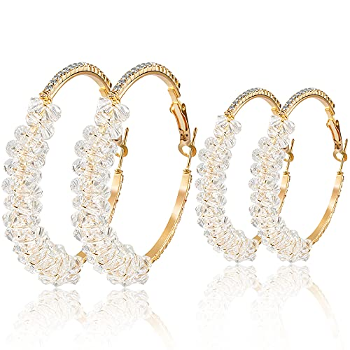 Heytree 2 Pairs 2021 Spring New Korean Version of S925 Silver Needle Diamond Zircon Twisted Hoop Earrings Fashion Exaggerated Big Circle Earrings