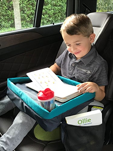 Car Seat Tray & Lap Desk for Kids & Toddlers - Reinforced Entertainment Surface & Best Cup Holder - Snack and Play Travel Tray - in Teal and Fuchsia by Dynamic Kidz