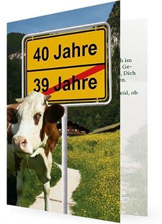 10 X Witzige Einladung Zum 40. Geburtstag, Kuh Vor Ortsschild Mit Alter,  Hintergrund