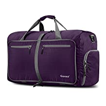Gonex 60L Foldable Travel Duffel Bag for Luggage, Gym, Sport, Camping, Storage, Shopping Water & Tear Resistant (Purple)