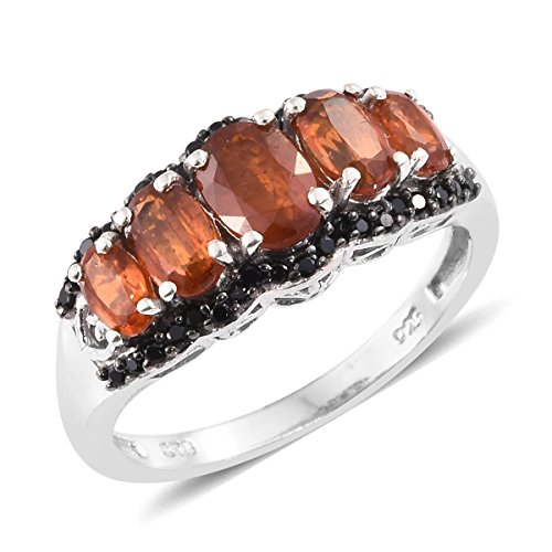 925 Sterling Silver 2.9 Cttw Oval Orange Kyanite, Black Spinel Ring Size 5