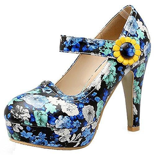Mofri Women's Sexy Floral Print Round Toe Buckle Strap High Chunky Heel Platform Mary Jane Pumps Shoes (Blue, 10 B(M) US)