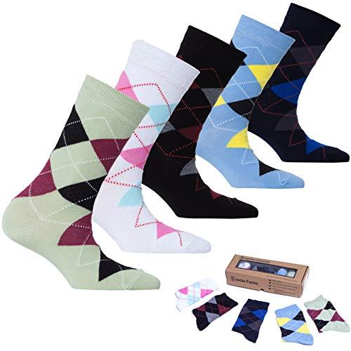 - Socks n Socks-Women's 5 Pairs Colorful Luxury Cotton Funky Crew Socks