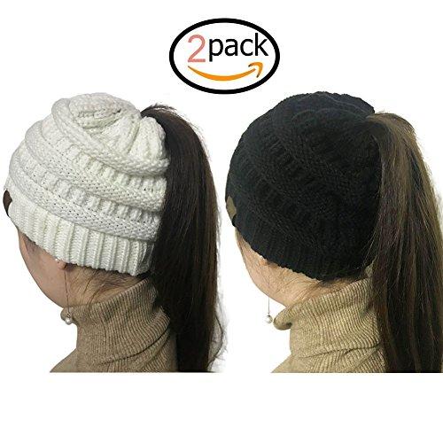 - Gagget Women's Winter Knit Cup Beanie Tail Ponytail Winter Warm Stretch High Bun Knit Hat (White+Black)