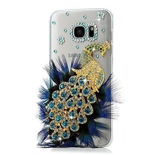 S7 Edge Case,Samsung Galaxy S7 Edge Case - Maviss Diary 3D Handmade Bling Luxury Peacock with Fashion Feather Shiny Blue Diamond Glitter Sparkle Crystal Rhinestone Gems Design Clear Hard Cover