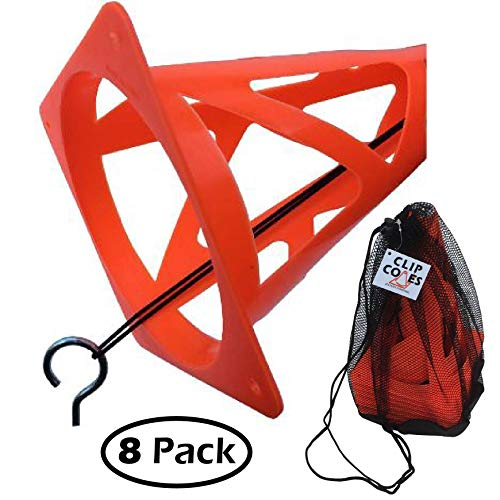 ClipCones Wind Proof Orange Soccer Cones and Carry Bag for Football, Training, Sports, Practice, and Drills. Great for Pylons, End Zone Markers, Corner Flags, and Soccer Goals. Collapsible for Safety.