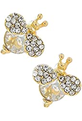 Goldtone Clear Glass and Rhinestone Bee Button Earrings