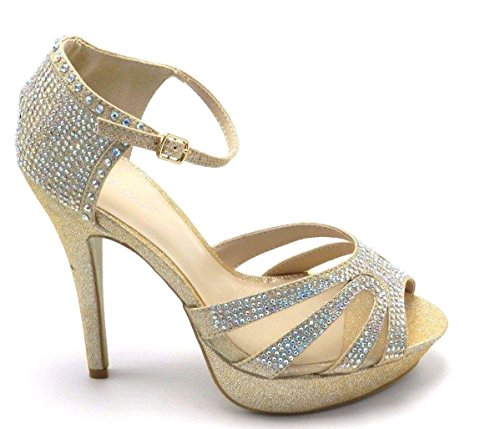 Womens Stiletto Clasic Abito Da Sposa Pompa Nuziale Guarire Perle Glitter Sandalo Scarpe Gold-1