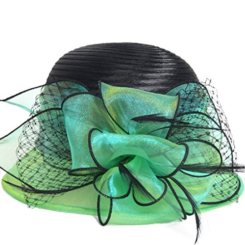 Hat Church Hat Dress - Kentucky Derby Dress Church Cloche Hat Sweet Cute Floral Bucket Hat (Green)