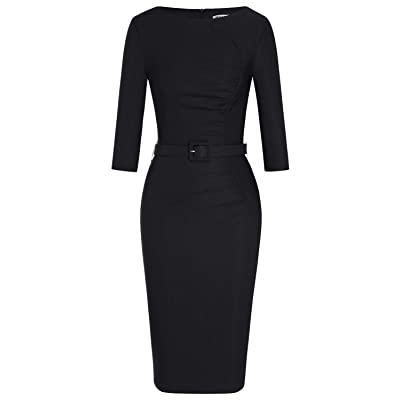 MUXXN Women's Retro 1950s Boat Neck Ruched Formal Work Office Pencil Dress: Clothing