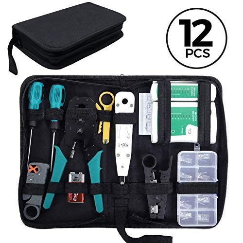 SGILE 12 in 1 Network Repair Kit, Network Tool Kit for RJ45/11/12 Cat5/5e Lan Cable Tester Computer Maintenacnce