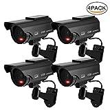 TKOOFN 4 PCS Solar Powered Fake Camera Imitation Dummy Security CCTV Camera Bullet With Flashing LED Light Black
