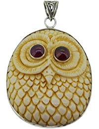 Owl Pendant Amazing Handcarved Owl with Red Garnet Eyes Sterling Silver 925 Pendant