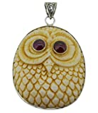 Soul Jewelry Owl Pendant Amazing Handcarved Owl Necklace with Red Garnet Eyes Sterling Silver 925 Pendant