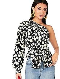 Romwe Blusa Lisa con cinturón, Mangas Cortas, con un Hombro, para Mujer