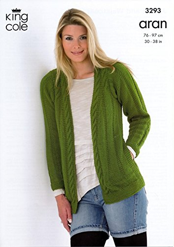King Cole Ladies Jacket Waistcoat Merino Aran Knitting Pattern