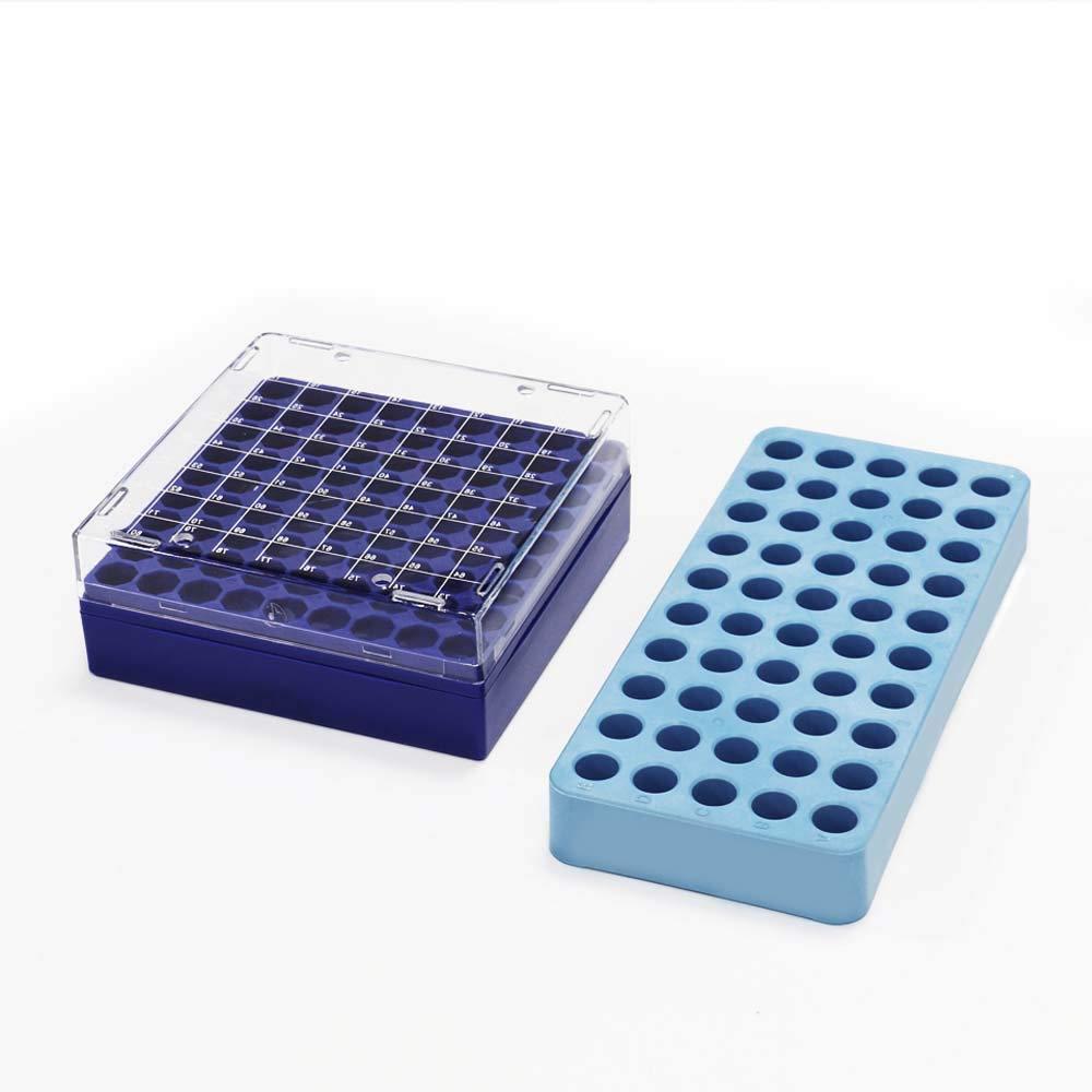 ULAB Scientific Cryo-Safe Freezing Box and Cryotube Workstation Rack Set, 81-Place Freezing Box, 50 Holes Cryotube Workstation Rack, UCP1002