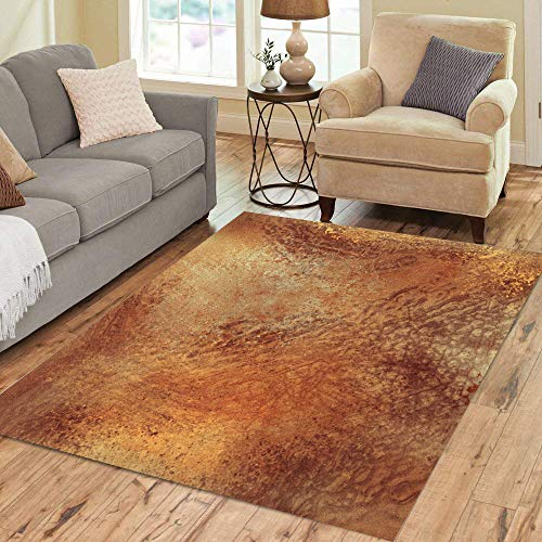 Pinbeam Area Rug Orange Tone Brown Warm Colored Earth Earthy Painting Home Decor Floor Rug 5' x 7' Carpet (Brown Rust And Rugs)
