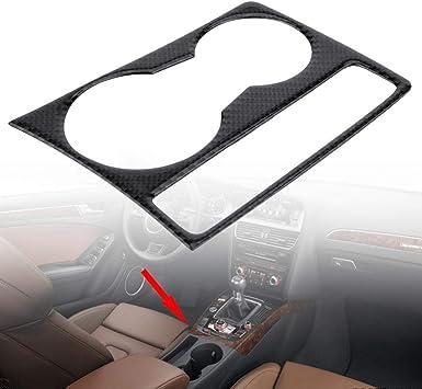 Couvercle du porte-gobelets Support de tasse de leau de support de tasse de leau de console de centre de voiture de fibre de carbone pour A4 B8 A5 2009-2015