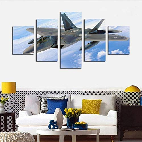 qingyuge 5 Panels Canvas Wall Art Modern Home Wall Decor Canvas Picture Fighter Jet Soaring High On The Blue Sky - 5 Piece Canvas Print Painting Canvas Framed