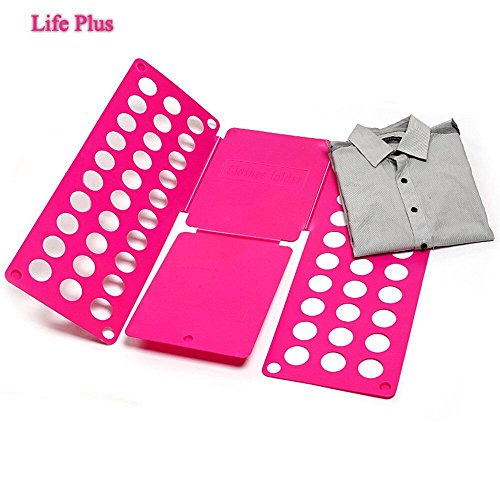 Life Plus T Shirt Clothes Folder Fast and Easy to Make up Kid's Laundry in Neat Piles, Pink (Laundry Clothes Folder)