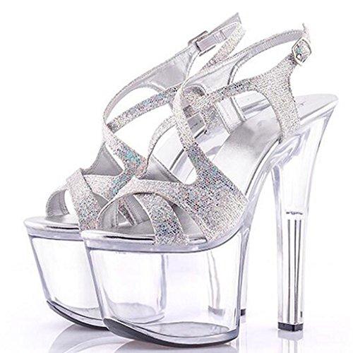 impermeabile di Llp spessore Heel Argento Sandals Fondo Piattaforma Scarpe Women High 17cm cristallo trasparenti Super alto di spesso r0wqrvng