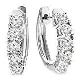 1.00 Carat (Ctw) 10K White Gold Round White Diamond Ladies Huggies Hoop Earrings 1 CT