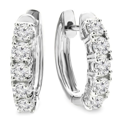 1.00 Carat (ctw) 14K White Gold Round White Diamond Ladies Huggies Hoop Earrings 1 CT
