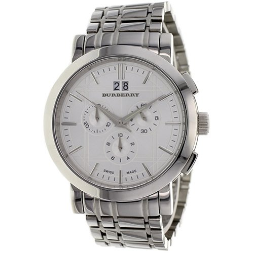 SALE! Authentic Burberry Heritage LUXURY Mens Unisex Stainless Steel Chronoghraph Watch Silver Engraved Date Dial BU1384
