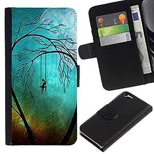 YiPhone /// Tirón de la caja Cartera de cuero con ranuras para tarjetas - Sad Trees Goth - Apple Iphone 6