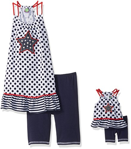 Red White And Blue Outfits (Dollie & Me Big Girls' Americana Knit Tunic Dress with Short and Matching Doll Outfit, Navy/White/Red, 7)