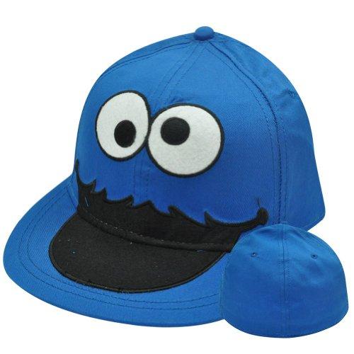 (Sesame Street Cookie Monster Big Face Flat Bill Brim Fitted Stretch S/M Hat)
