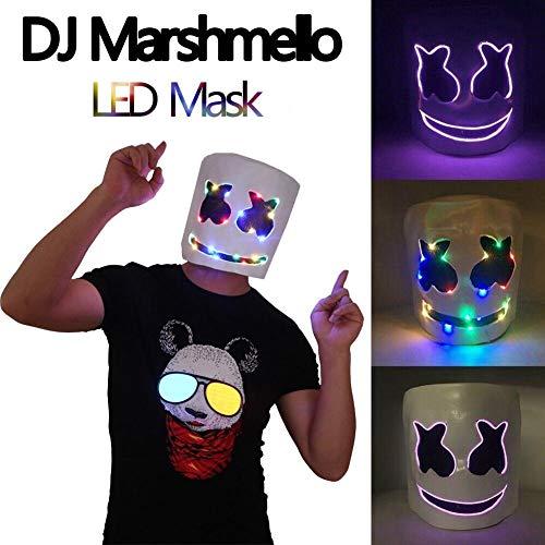 Helmet Fiber Optic Replica (Fancystar LED Marshmallow DJ Mask Party Prop Full Head Mask Cosplay Replica Latex Helmet, for Nightclub, Cosplay, Costume Mask, Bar)