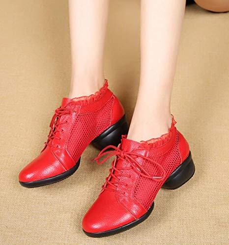 Moderne De Les Plein Course Air Pied Toutes en Léger Mesh en Red Chaussures Fitness en À Pied Danse Dancewear Cuir Tailles À Dentelle Sneakers dqwap1
