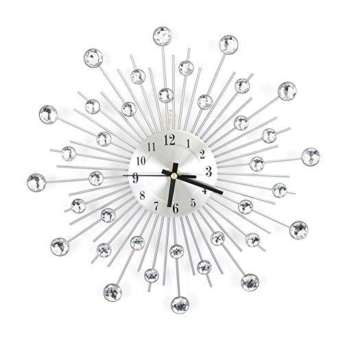 Yosooo 3D Crystal Wall Clock,11.81 inch Metal Silver Mirror Diamond-Studded Wall Decor Clock Housewarming Gift for Living Room Bedroom Office