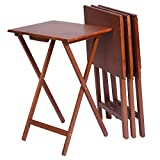 Wood Set 4 Portable TV Table Folding Tray Desk Serving Furniture Walnut